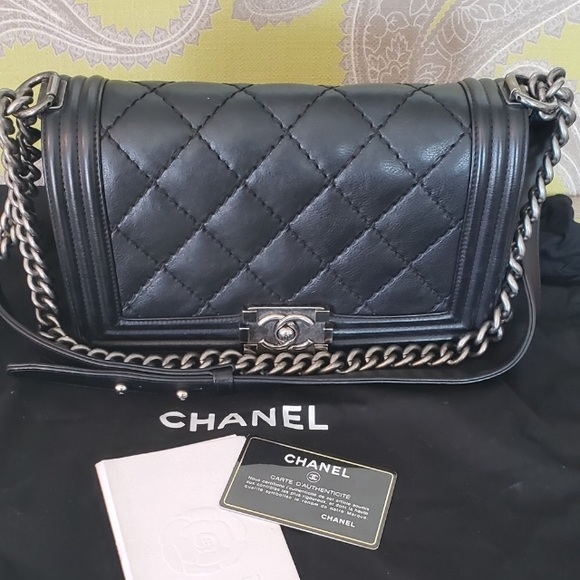 CHANEL Handbags - Chanel le boy bag in calfskin leather!!!